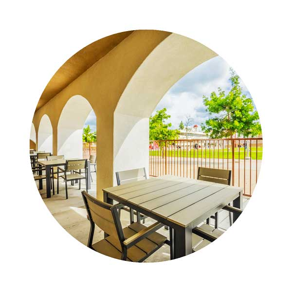 Community patio with outdoor furniture