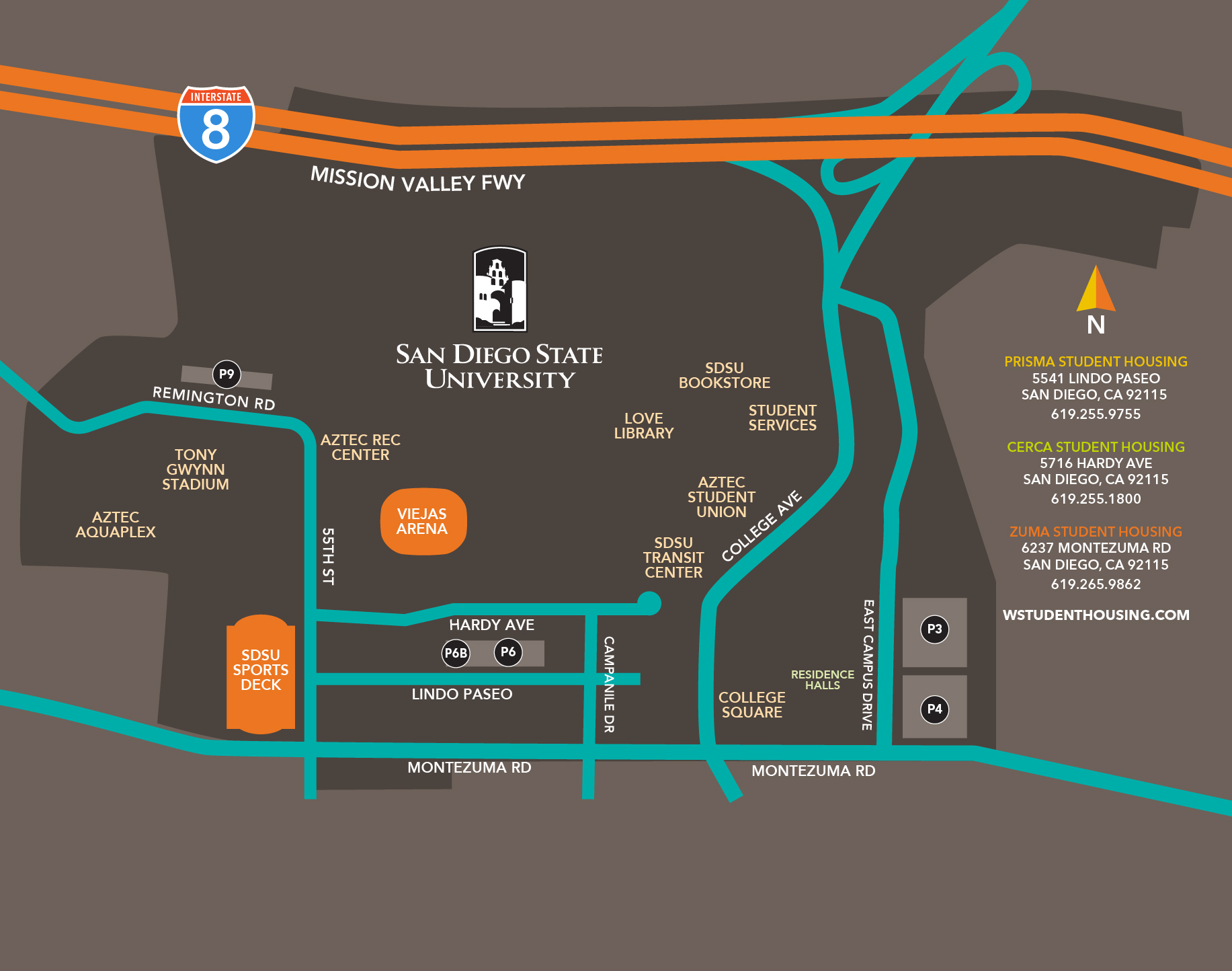 SDSU campus map with W Student Housing community links
